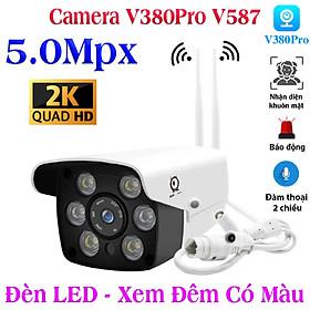 Camera ip wifi ngoài trời  V587 2 Râu 6 Mắt Đàm thoại 2 chiều to rõ , tích hợp led xem đêm có màu cảm biến phát hiện nhận dạng chuyển động , cảnh báo hú còi lớn