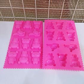 Bộ 2 khuôn silicon làm bánh, thạch, pudding 11 ô hình gấu