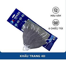 Khẩu Trang Y Tế 4D Ok Mask Màu Xám, Theo Thiết Kế Kf94, Đạt Chuẩn Kháng Khuẩn, Công Nghệ Nhật Bản (6 Chiếc/Túi)
