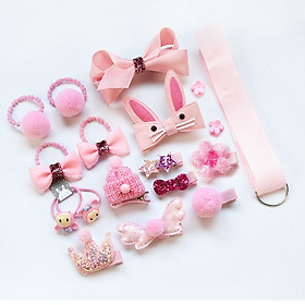 Hộp quà 18 món cột tóc, kẹp tóc nhiều kiểu dễ thương cho bé gái làm quà sinh nhật - Tặng túi voan dây rút