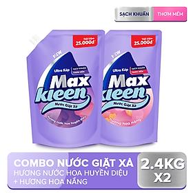 Combo 2 Túi Nước Giặt Xả Maxkleen: 1 Hương Nước Hoa Huyền Diệu (2.4kg) + 1 Hương Hoa Nắng (2.4kg)