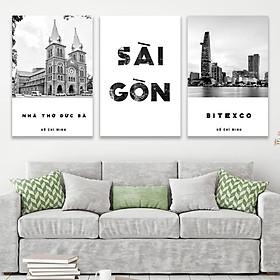 Tranh Canvas - Set 3 Tranh Sài Gòn - Nhà Thờ Đức Bà - Tòa Nhà Bitexco - PMK3043