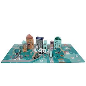 Bộ đồ chơi xây dựng thành phố bằng gỗ, xếp hình và lắp ghép kích thích sáng tạo cho bé
