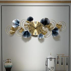 Đồng hồ phù điêu lá Ginkgo 8805, Đồng hồ phù điểu cao cấp đẹp, Đồng hồ treo tường phòng khách,Đồng hồ treo tường