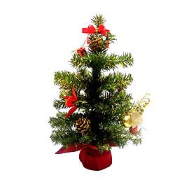 Cây Thông Noel Mini Để Bàn Màu Xanh Phối Hợp Màu Vàng Cao 40cm - 60cm - Trang Trí Lễ Giáng Sinh Tặng Kèm Bọc Cần Số Monter Màu Ngẫu Nhiên