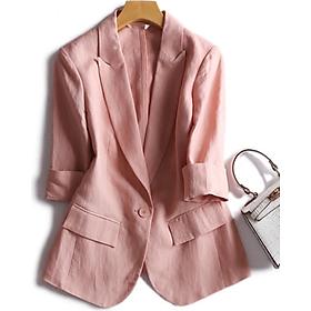 Áo Blazer Nữ Linen Hồng Pastel Hàn Quốc