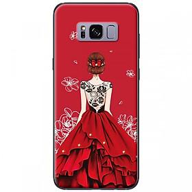 Hình đại diện sản phẩm Ốp lưng dành cho điện thoại Samsung S8 Plus -Mẫu Cô gái váy đỏ áo đen