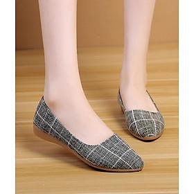 Giày búp bê nữ vải kẻ sọc kiểu dáng công sở dáng cơ bản V224