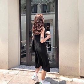 Váy 2 dây, đầm xuông - chất đũi lụa trơn basic nữ