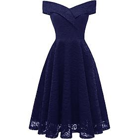 Váy Ren Dự Tiệc Nữ Hở Vai Phong Cách Cổ Điển