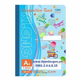 Sổ may dán gáy A4 - 120 trang; Klong 971 bìa xanh