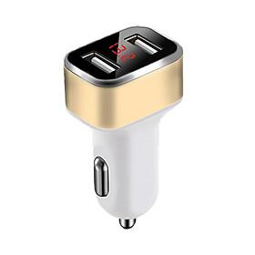 Tẩu Sạc Ô Tô Đầu Ra 2 USB 5VDC 2.4 A Có Đồng Hồ Hiển Thị Điện Áp Đầu Vào