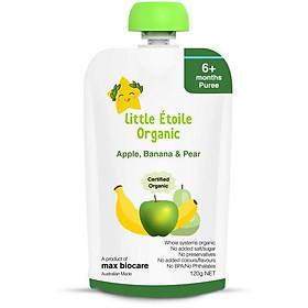 Thực phẩm ăn dặm hữu cơ Little Étoile Organic vị táo, chuối và lê