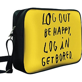 Túi Chéo Hộp Log Out Be Happy, Log In Get Bored - TCTE066