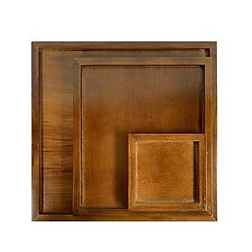 Khay gỗ tự nhiên nguyên khối màu nâu hình vuông đựng trà bánh đồ ăn đĩa gỗ decor phụ kiện phòng ăn