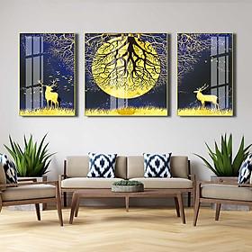 Bộ 3 tranh mica cao cấp Hươu dưới rừng trăng vàng - MK018