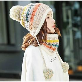Mũ Len Nữ Kèm Khăn Choàng Nón Len Nữ Kèm Khăn Thời Trang Hàn Quốc - DONA21012901