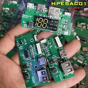 Mạch sạc dự phòng 2 cổng USB 2.1A và 1.0A  tích hợp sạc nhanh và led hiển thị thông số HPESAC01