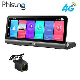 Camera hành trình Phisung P03 đặt taplo ô tô 4G, wifi, 8 inch tích hợp cam lùi - Tích hợp phần mềm dẫn đường Navitel, Google map... - Hàng Nhập Khẩu