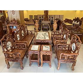 Bộ bàn ghế móc đá triện trúc gỗ cẩm lai xịn 8 món