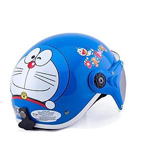 Mũ Bảo Hiểm Em Bé Tem Doremon_ Kính chắn gió chống bụi cho trẻ từ 5 - 8 tuổi