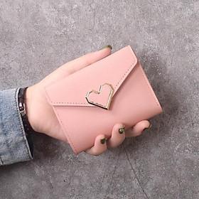 Ví bóp da nữ mini cầm tay nhỏ gọn trái tim siêu hot VN42