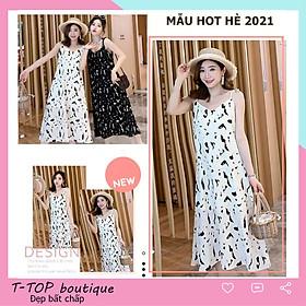 Váy 2 dây dáng suông dài họa tiết phong cách retro Hàn Quốc siêu hot