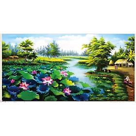 Tranh thêu chữ thập 3D Ao Sen Ngát Hương 124x64cm- tự thêu