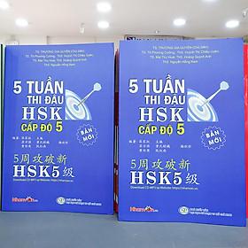 Sách - 5 Tuần Thi Đậu HSK Cấp Độ 5 - Sách luyện thi tiếng Hoa  độc quyền Nhân Văn