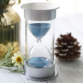 Inkfish silver cover hourglass blue sand 10 minutes 1978 time timer decoration study desk desk shelf decoration send friends children creative birthday learning gift walking time