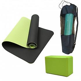 Thảm Yoga 2 Lớp + Gạch Yoga + Bao Đựng Thảm Yoga (Giao Màu Ngẫu Nhiên)