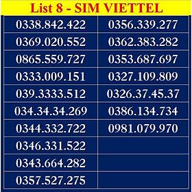 SIM SỐ ĐẸP VIETTEL - LIST DS8 - Số dễ nhớ, thần tài, số cặp - Chọn Số Theo Danh Sách - SIM MỚI, ĐĂNG KÝ ĐÚNG CHỦ ONLINE
