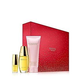 Estee Lauder Beautiful To Go Set includes: Eau de parfum spray (1 oz.) Perfumed body lotion (2.5 oz.) Eau de parfum purse spray (0.16 oz.)
