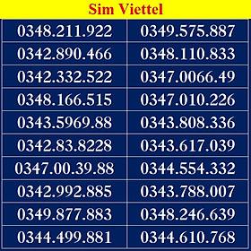 Sim số đẹp Viettel - Số dễ nhớ, thần tài, lộc phát, số cặp - Chọn Số Theo List DS02 - Đăng ký đúng chủ