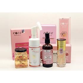 Combo chăm sóc da mặt Rova gồm : Sữa rửa mặt tinh chất hoa hồng,Nước hoa hồng,Mặt nạ ngủ tổ yến tươi collagen và Serum tinh chất cánh hoa hồng