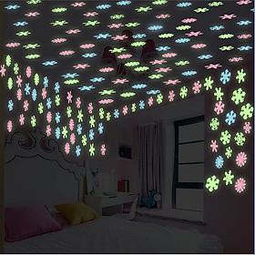 Ngôi sao - hoa tuyết dạ quang 3cm - 2 bộ (150 ngôi sao và hoa)