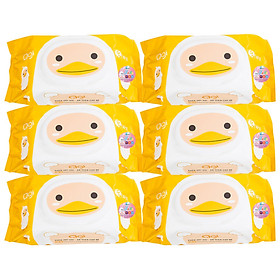 Combo 6 Gói Khăn Ướt AGI Không Mùi Hình Vịt Vàng (100 tờ x 6 gói)