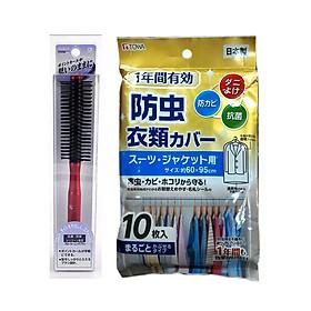 Combo Set 10 Túi Bọc Quần Áo Treo Tủ Chống Bụi, Côn Trùng + Lược Dành Cho Tóc Xoăn Mẫu Mới - Nội Địa Nhật Bản