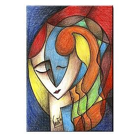 Tranh Canvas Treo Tường Phong Cách Trừu Tượng Gương Mặt Thiếu Nữ Suemall CV140876