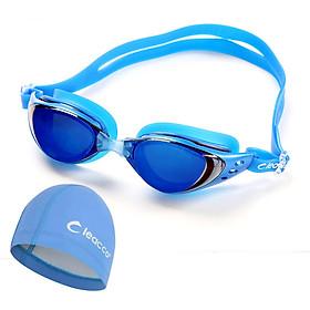 Kính bơi Polycarbonate cao cấp chống sương mù , tia cực tím tặng kèm nón bơi vải PU cao cấp , bịt tai và đệm mũi , dành cho vận động viên chuyên nghiệp hoặc người có sở thích đi bơi