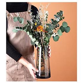 Bình, Lọ thủy tinh cắm hoa cao cấp xám khói viền vàng sang trọng