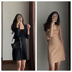 Bộ Váy 2 Dây Áo Khoác Dài Tay Nữ , Áo Khoác Mỏng Kèm Đầm 2s Q033