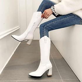 Boot cao bồi dưới gối màu trắng cổ xẻ GCC6302