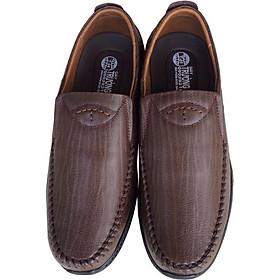Giày mọi nam Trường Hải màu nâu da bò thật cao cấp không bong tróc đế cao su chống mòn không trơn GMTH092