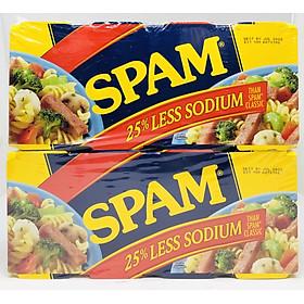 Thịt hộp Spam Less Sodium 25% 340g giảm mặn - Lốc 8 hộp nhập Mỹ