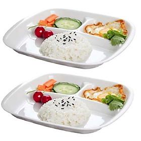 Set 02 Đĩa ăn chia 3 ngăn cho bé màu trắng - Hàng nội địa Nhật