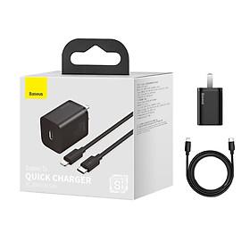 Bộ Cốc sạc và Cáp sạc nhanh Baseus Super Si PD 20W CCCJGCC for iPhone 12 (Hàng chính hãng)
