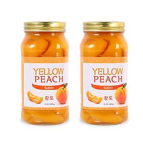 Combo 2 Hũ Đào Vàng Ngâm Nongwoo (680g/Hũ) - Nhập Khẩu Hàn Quốc