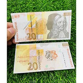 Tiền Slovenia 20 Tolarjev, đất nước châu Âu, mới 100% UNC, tặng túi nilon bảo quản The Merrick Mint