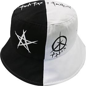 Nón Mũ Bucket Nam Nữ màu đen Freesize Star Khoen 2 màu Trùm Unisex